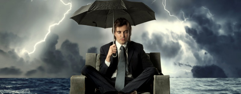 finance worker in storm