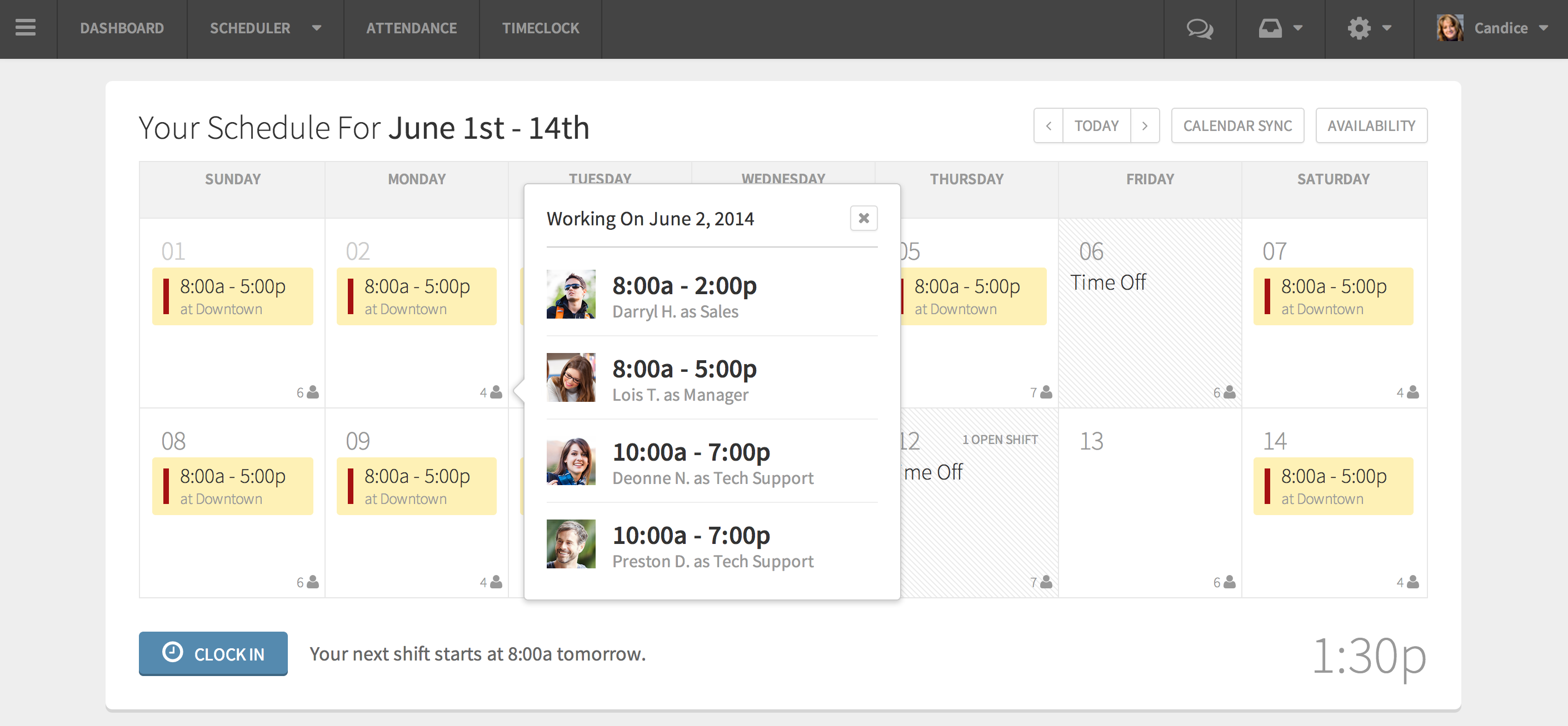 Employee Scheduling Software Screenshot - When I Work - See who's working with you