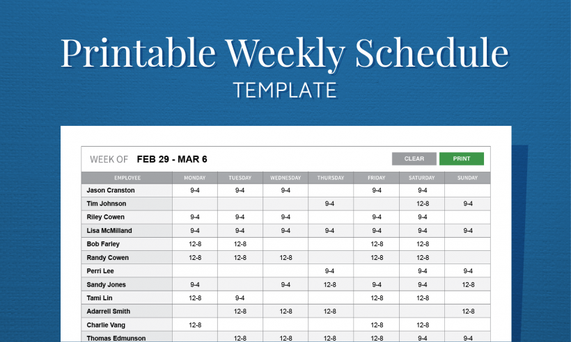 Weekly free Excel employee schedule template