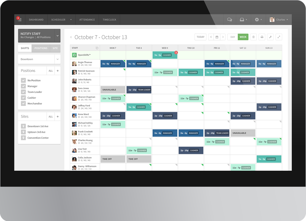 employee scheduling software screenshot of the staff scheduler for when i work